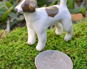 Polymer Clay Dog ~ Jack Russell Terrier ~ Miniature Pet Sculpture, Cute Animal Figurine, Handmade Ooak Memorial, Desktop Pet