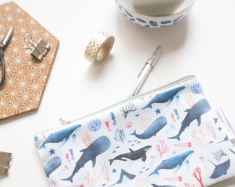 fabric pencil pouch, pencil case, pencil pouch, whale lover, school pencil pouch, student pencil case, pencil pouch, pattern pencil case