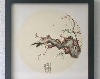 Original watercolor artwork. Winter plum blossom. Original only. Watercolor painting on rice paper. Aquarelle. Pflaume