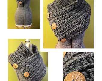 Three Button Crochet Scarf - Crochet Cowl - Crochet Scarf - 3 Button Scarf