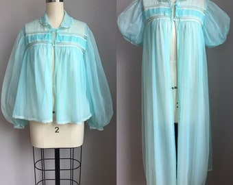 Vintage 1960's Chiffon Blue Gotham Goldstripe Peignor Robe and Bed Jacket size Medium Large