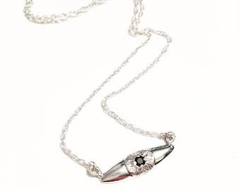 Helles Auge Halskette, Eye Halskette, Evil Eye Halskette, Edelsteinhalskette, drittes Auge Halskette, schwarzer Spinell Halskette, Anhänger