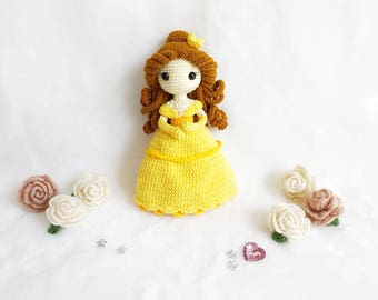 Belle Princess Crochet, nursery decor, Belle amigurumi, Crochet princess, Baby gift, Girl gift, Toy, Doll, gift