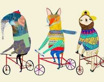 Cool Bike Friends. children's illustration art print kids decor nursery wall art.