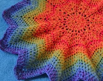 Rainbow Crochet Star Blanket - Baby Blanket - Baby Shower- Colourful Star Blanket- Toddler Blanket- New Baby Gift