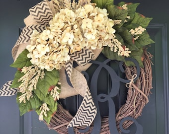 All Year Long Wreath -Wreath -Everyday Wreath -Wreaths -Housewarming Gift -Summer Wreath -Hydrangea Chevron Burlap Monogram Wreath - Gifts