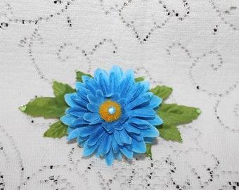 Blue Cornflower Hair Barrette/Mother's Day Hair Accessory/Church/Prom/Summertime Funwear