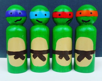 Ninja Turtles - UNFINISHED Wooden Peg Dolls - DIY Kit