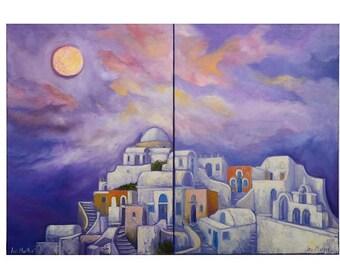 Full Moon over Santorinioriginal painting,oil canvas,blue,moon,village,wall art,abstract,night-sky