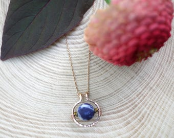 Sodalite and Hematite Gold Filled Circle Necklace