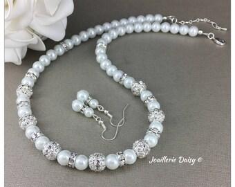 Bridesmaid Jewelry Set Bridesmaid Gift Pearl Necklace Gift for Bridesmaid  Rhinestones Necklace Maid of Honor Gift Wedding