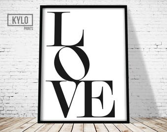 Love Print, Love Wall Art, Love Printable, Elegant Typography, Black White Love Typography, Love Sign, Love Art Printable, Nursery Decor art