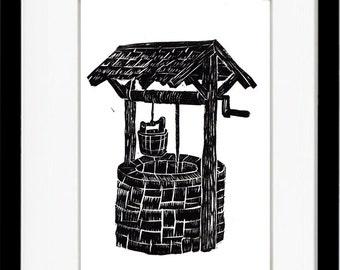 Water Wishing Well Print #37, Original Linoleum Block Print