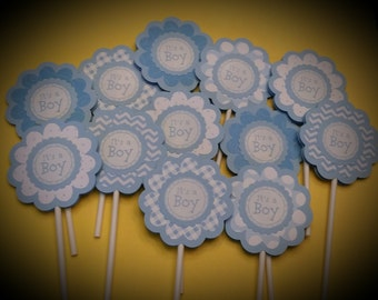 BABY BOY Cupcake Toppers - It's a Boy Cupcake Toppers - Baby Shower Cupcake Toppers Set of 12