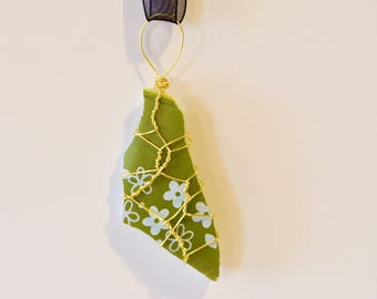 Broken Pyrex Pendant, Wire Wrapped Spring Blossom Green