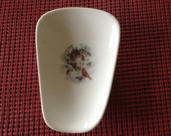 """Ceramic Spoon Rest with a Red  Cardenal with Cat.  5"""" Long And 3 1/2 Inches at Top of Spoon"""