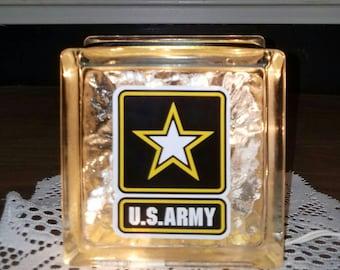 U.S. ARMY Lighted Glass Block Nightlight