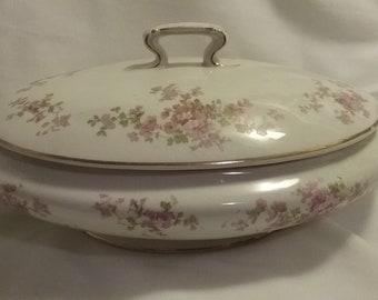 Vintage Florence Cook Pottery  China  Covered  Vegetable  Dish   ECS