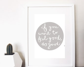 kindness monochrome quote print grey