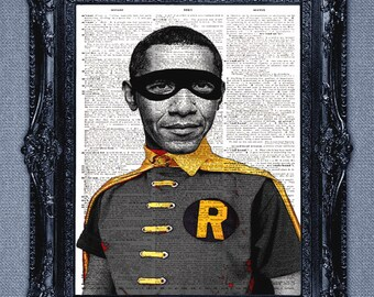 OBAMA is ROBIN dictionary art print - Obama art print upcycled vintage dictionary page book art print