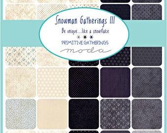 "Moda Snowman Gatherings III Precut 5"" Charm Pack Fabric Quilting Cotton Squares 1210PP SQ69"