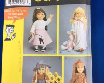 """Simplicity 7069 Pattern for 18"""" Doll Clothes  UNCUT/COMPLETE. Sewing for Dummies Pattern"""