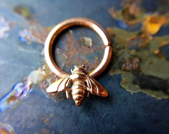 Rose Gold Bee Septum Ring ~ Pink Gold Honey Bee Nose Ring ~ Rose Gold Dipped Sterling Silver ~ Insect Body Jewelry ~ Daith Piercing