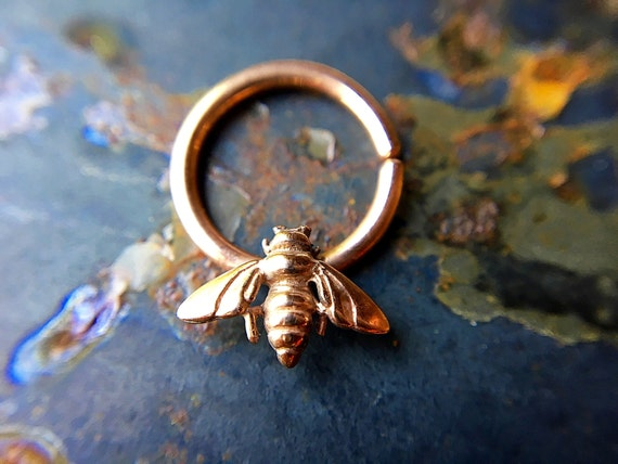 Rose Gold Bee Septum Ring Pink Gold Honey Bee Nose Ring