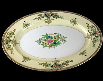 Oval Platter, Noritake, Floral Pattern, Serving Platter, Gold Trimmed