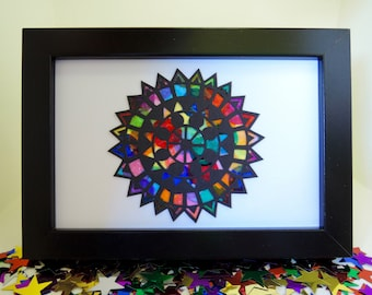Rainbow Papercut Mandala Original Artwork