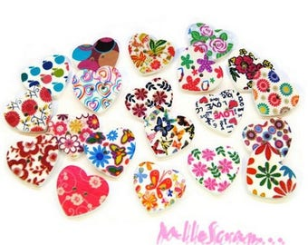 Set of 10 decorated hearts also scrapbooking embellishment buttons