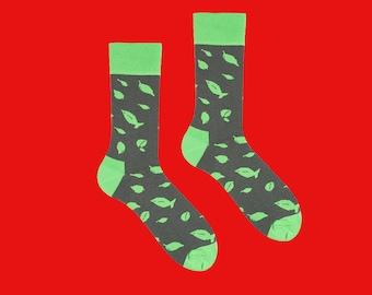 Chaussettes de pesto, verts, chaussettes kakis, feuilles de chaussettes à motifs, basilic chaussettes, chaussettes pour hommes, chaussettes de femmes