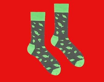 Pesto Socks, Greens, Khaki Socks, Leaves Patterned Socks, Basil Socks, Men's Socks, Women's Socks