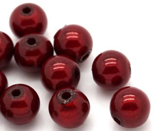 Red Miracle Beads - 8mm - set of 25 - #SH181