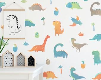 Dinosaur Wall Decals - Wall Decor, Decals, Watercolor Dinosaur Nursery Decor, Gift, Boys Room Decor, Girls Room Decor, Reusable Wall Decals
