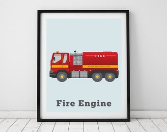 Fire Engine, Nursery wall decor, Fire Engine print, Toddlers wall art, Rescue vehicles, Playroom wall decor, Truck print,