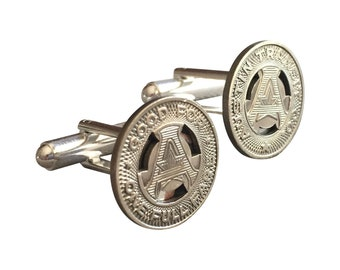 Authentic Austin Transit Company Texas Token Cufflinks Free Cuff Link Box and Free Shipping