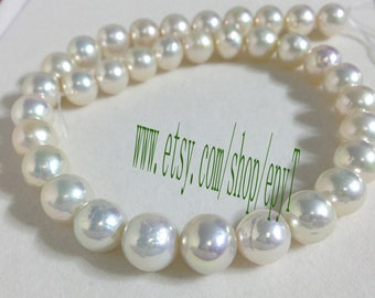 40cm Top AAA+++ 11.5-13.5mm,Large pearls,natural bright cream color edison Pearl Necklace Strand, edison Pearl Beads String ,GZ22-eTprs588
