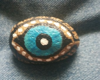 Abstract Female Lady Blue Eye Painted Rock OOAK Gift Unique