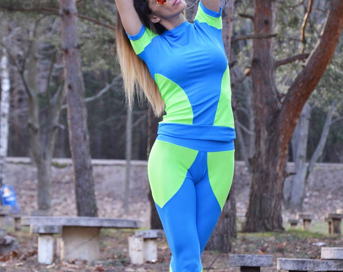 Women's Runner Set, Plus Size Fitness Top, Extra Long Leggings, Yoga Pants, Hot Workout Blouse by SSDfashion