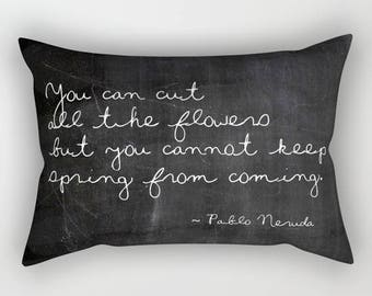 Pablo Neruda Quote Lumbar Pillow Cover, Black Velvet Cushion, Floral Quotes, Shabby Chic, Cottage Decor, Boho Decor, Spring Pillows