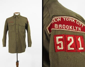 Vintage 50s Boy Scout Shirt Brooklyn NYC Army Green BSA Wool Union Made - Medium