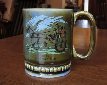 Vintage Wade Mug, Coffee Cup, Irish Jaunting Car, Shamrock, Pottery, Wade Irish Porcelain,Ireland, Horse Carriage, Wade Jaunting Car Cup,Mug