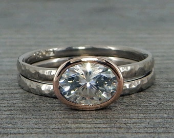 Oval Moissanite Engagement Ring and Wedding Band - Forever One G-H-I, 14k Rose Gold and 18k Palladium White Gold, Hammered, Made to Order