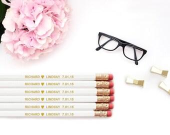 Personalized Pencils / Love Heart CUSTOM Bride Groom Names Personalized Pencils / Wedding White Gold Foil Engraved Pencil Set Wholesale