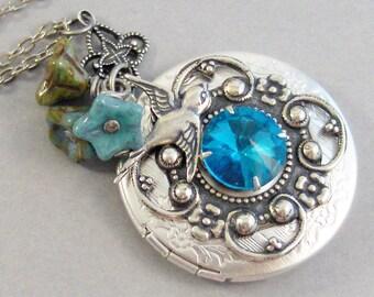 Blue Topaz Sparrow,Sparrow Necklace,Blue Topaz Necklace,Blue Topaz Locket,Blue Topaz Jewelry,Topaz Handmade,Birthstone Necklace,valleygirlde