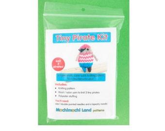 CLEARANCE Mochimochi Land - Tiny Pirate Kit, knitting kit, tiny knitting, knitting pattern with yarn, amigurumi pattern
