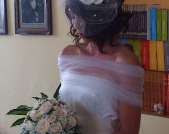 Wedding bolero, Bridal Wrap, Wedding Cover Up, Wedding Shrug, Bridal Bolero in Tulle White or Ivory