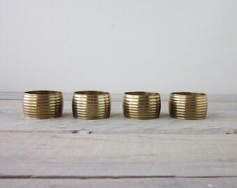 Vintage Brass Napkin Rings Set of Four