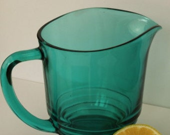 Teal Blue Water Jug or Pitcher - Glass - Lemonade - Iced Te - Retro - Mid Century - Made in England